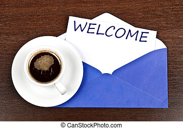 Welcome message and coffee