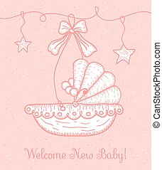 Welcome New Baby Greeting Card with Cradle
