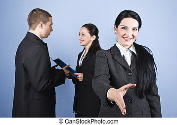Welcome or joined in business with a business woman who...