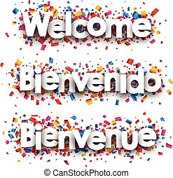 Welcome paper banner. - Welcome white paper banner with ...