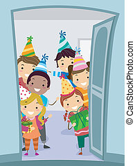 Welcome Party Kids - Illustration of Kids Wearing Party Hats...