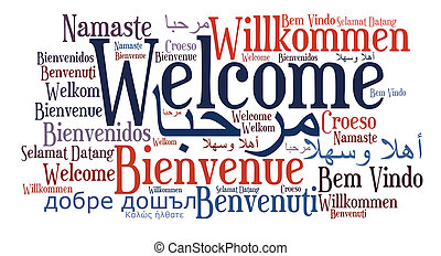 Welcome phrase in different languages. Word cloud. Cultural...