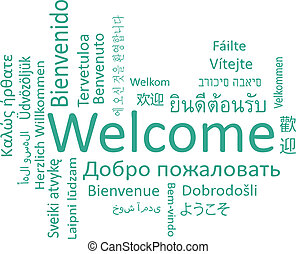 Welcome phrase in different languages. Vector words cloud...
