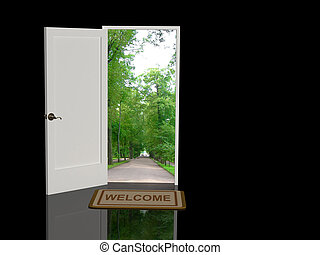 Welcome - Door open in the real world