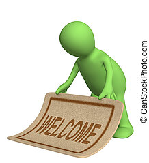 Welcome - Puppet, stacking doormat with an inscription ...