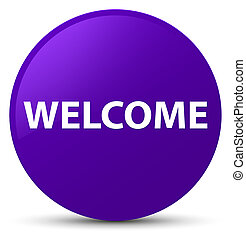 Welcome purple round button