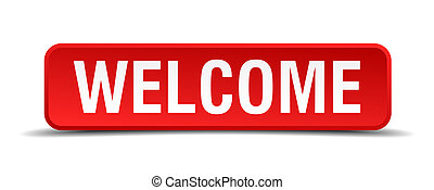 Welcome red 3d square button isolated on white