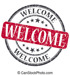 Welcome red grunge round stamp on white background