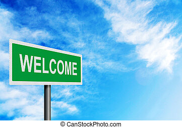 'Welcome' sign against a bright blue sky. With space for ...