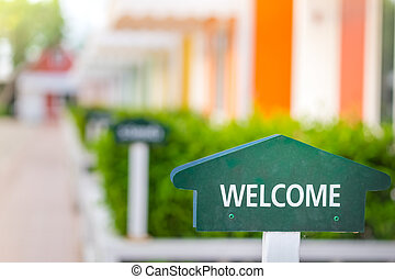 welcome sign at home