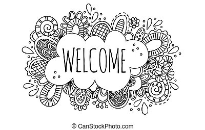 Welcome Sign Doodle Vector BW