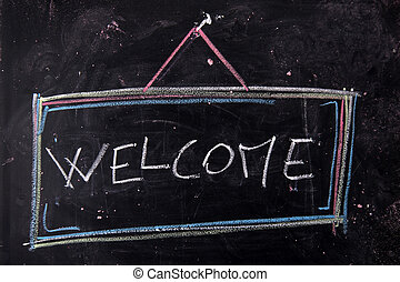 Welcome sign - Graphical representation of the writing,...