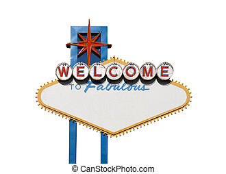 Welcome Sign Isolation - Famous Welcome to Las Vegas sign...