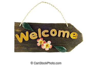 welcome sign on a white background
