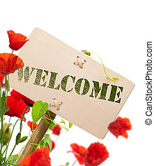 welcome sign - Welcome sign, wooden panel green plant and...
