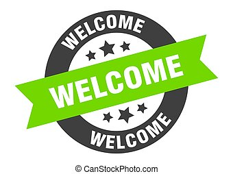 welcome sign. welcome black-green round ribbon sticker