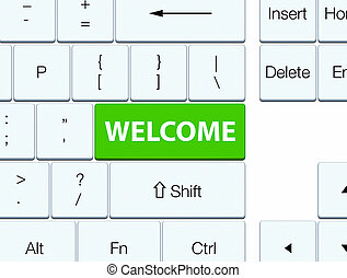 Welcome soft green keyboard button
