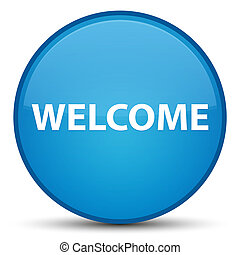 Welcome special cyan blue round button