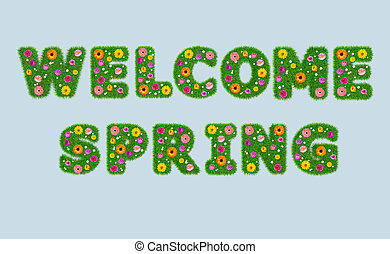 Welcome spring inscription from the letters of grass with flowers on an isolated blue background. 3D render