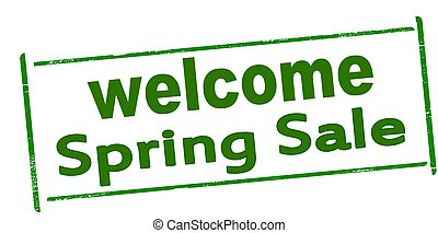 Rubber stamp with text welcome spring sale inside, vector illustration