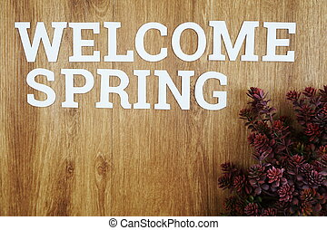 Welcome Spring with green leave on wooden background