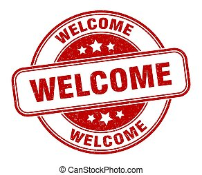 welcome stamp. welcome round grunge sign. label