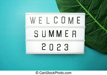 Welcome Summer 2023 word in light box