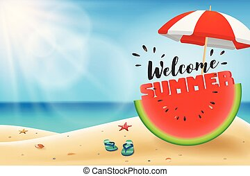 Welcome summer lettering on watermelon sliced under an...