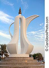 The coffee pot sculpture symbolising welcome on the Corniche in Doha, Qatar.
