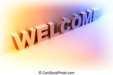 welcome., szó, elvont, háttér