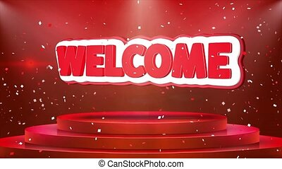 Welcome Text Animation Stage Podium Confetti Loop Animation