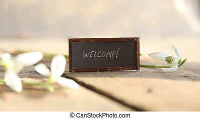 welcome text on signboard - welcome - hand lettering and...