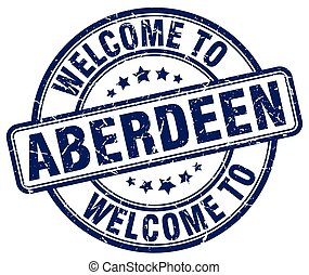 welcome to Aberdeen blue round vintage stamp