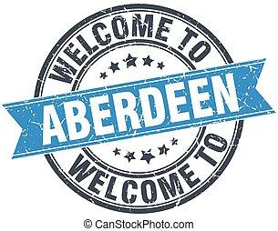 welcome to Aberdeen blue round vintage stamp