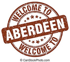 welcome to Aberdeen brown round vintage stamp