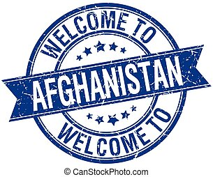 welcome to Afghanistan blue round ribbon stamp