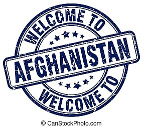 welcome to Afghanistan blue round vintage stamp