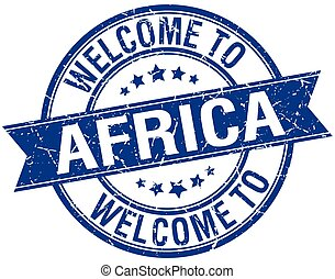 welcome to Africa blue round ribbon stamp