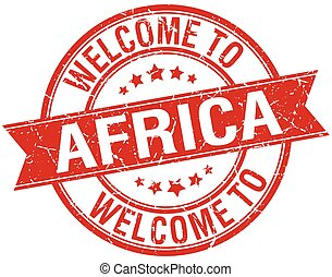 welcome to Africa red round ribbon stamp