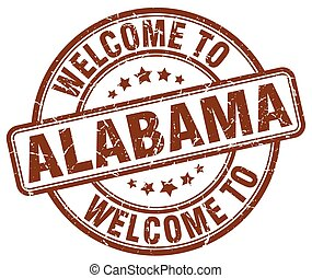 welcome to Alabama brown round vintage stamp