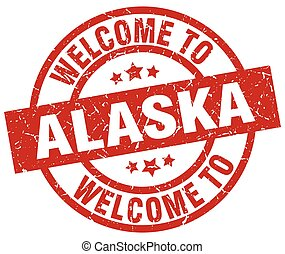 welcome to Alaska red stamp