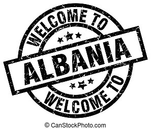 welcome to Albania black stamp