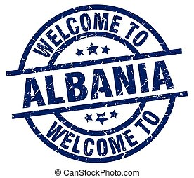welcome to Albania blue stamp