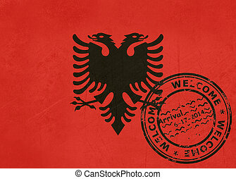 Welcome to Albania flag with passport stamp