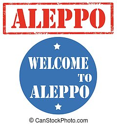 Welcome To Aleppo - Set of stamps with text Aleppo, vector ...