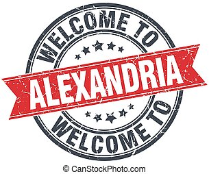 welcome to Alexandria red round vintage stamp