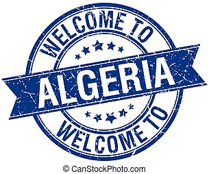 welcome to Algeria blue round ribbon stamp