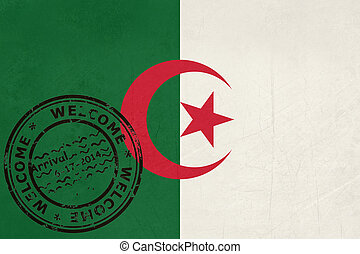 Welcome To Algeria Flag With Passport Stamp
