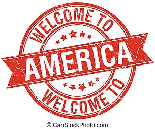 welcome to America red round ribbon stamp