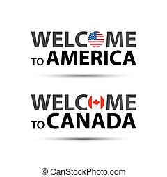 Welcome to America, USA and welcome to Canada symbols with flags, simple modern American and Canadian icons isolated on white background, vector illustration
